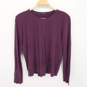 Eileen Fisher Purple Round Neck Long Sleeve Size M